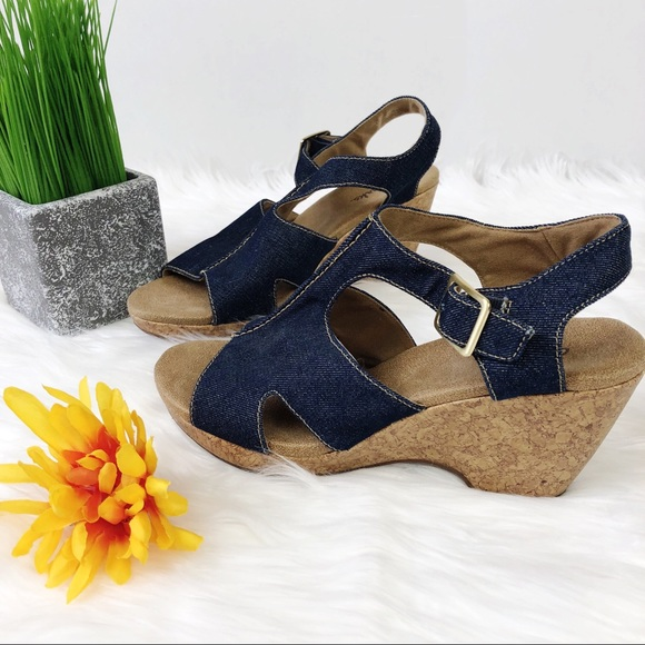 3ac370f8f743 Clarks Shoes - Clarks Denim Cork Wedge Sandals Sz 9 M Liz Bistro